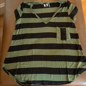 H by Bordeaux striped top
